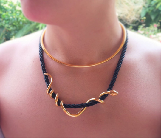 Rope Wrapped Snake Necklace - Ofis Collection / Ancient Greek Jewelry & Art