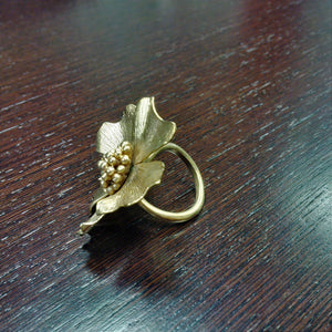 Flower Ring Gold plated 18K Brass metal Big/small Flower Rings
