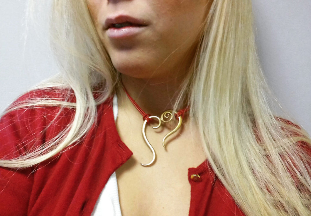 Gold Heart Pendant/ Heart Necklace in Brass metal Gold-plated/ Valentine's Day Gift /Physis Collection Hearts motiff with Red leather string