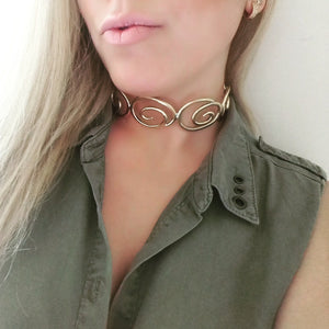 Kyma Collar '' Aegean '' Collection Gold-plated 18K brass necklace