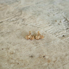 Load image into Gallery viewer, Ancient Greek Stud Earrings / Gold-plated Spiral Stud Earrings / Ancient Greek Post Earrings / Trending Dainty Earrings Symbols Collection