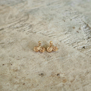 Ancient Greek Stud Earrings / Gold-plated Spiral Stud Earrings / Ancient Greek Post Earrings / Trending Dainty Earrings Symbols Collection