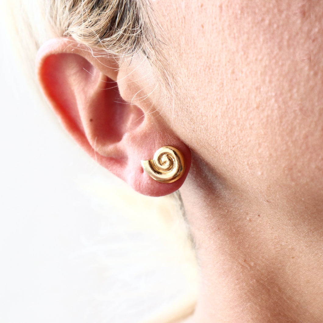 Ancient Greek Snail Stud Earrings / Gold-plated Stud Earrings / Ancient Greek Post Earrings Symbols Collection
