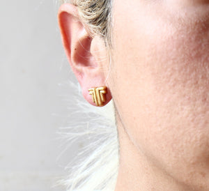 Ancient Greek Stud Earrings / Gold-plated Geometrical Stud Earrings / Ancient Greek Post Earrings / Trending Dainty Earrings Symbols Collection