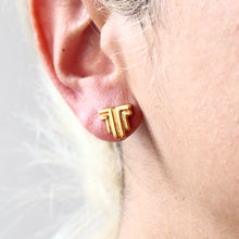 Load image into Gallery viewer, Ancient Greek Stud Earrings / Gold-plated Geometrical Stud Earrings / Ancient Greek Post Earrings / Trending Dainty Earrings Symbols Collection