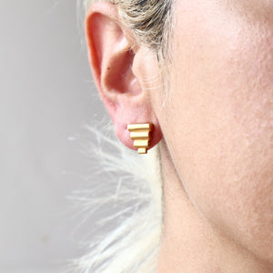 Ancient Greek Stud Earrings / Gold-plated Pyramids Stud Earrings / Ancient Greek Post Earrings / Trending Dainty Earrings Symbols Collection