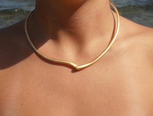 Single line ''Heart '' BRASS metal gold-plated necklace  - Handmade ancient greek necklace