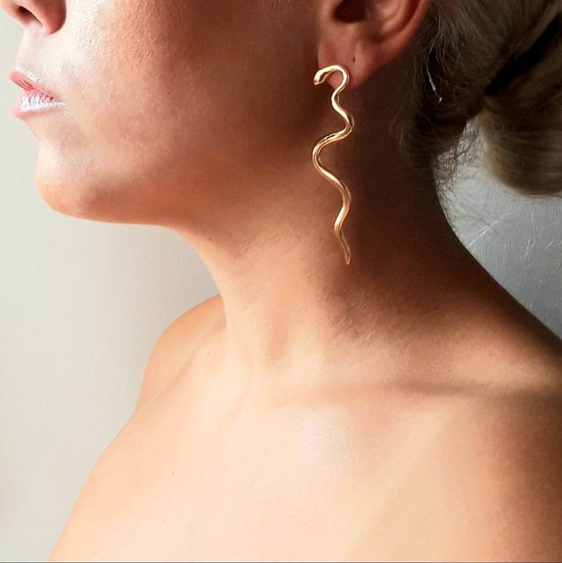 Wavy Statement Snake Earrings - Ofis Collection / Ancient Greek Jewelry & Art