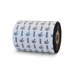 "Zebra OEM 02000BK10245 Wax Ribbon, 4.02"" x 1476 ft., 2000 Standard, 1.00"" Core"