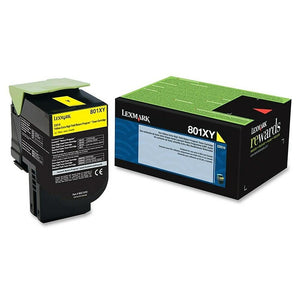 Lexmark Genuine OEM 80C1XY0 Extra High Yield Yellow Toner Cartridge, Estimated Yield 4000