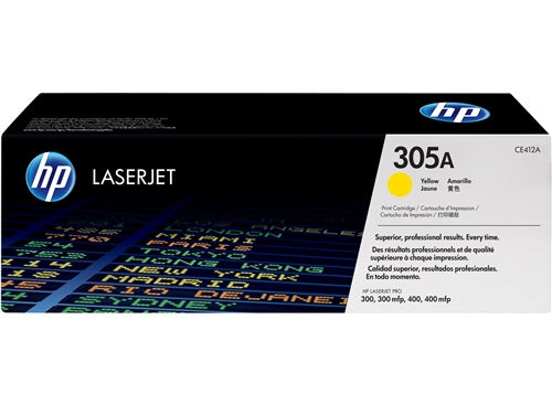 HP Genuine OEM CE412A (HP 305A) Yellow Toner Cartridge, Estimated Yield 2600
