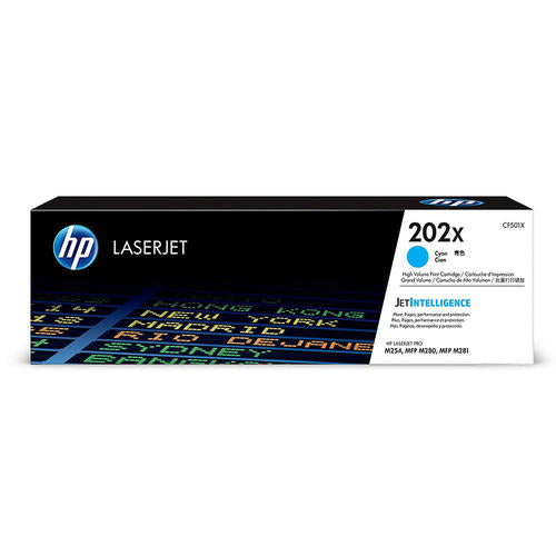 HP Genuine OEM CF501X (HP 202X) Cyan High Yield Toner Cartridge, Estimate Yield 2500