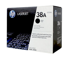 HP Genuine OEM Q1338A (38A) Black Toner Cartridge, Estimated Yield 10,000