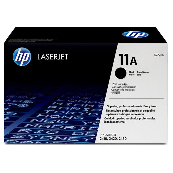 HP Genuine OEM Q6511A Black Toner Cartridge, Estimated Yield 6000