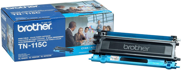 Brother Genuine OEM TN115C Cyan High Yield Toner Cartridge, Estimated Yield 4000