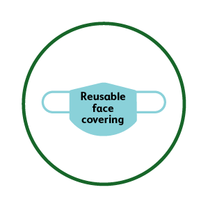 Reusable face covering icon