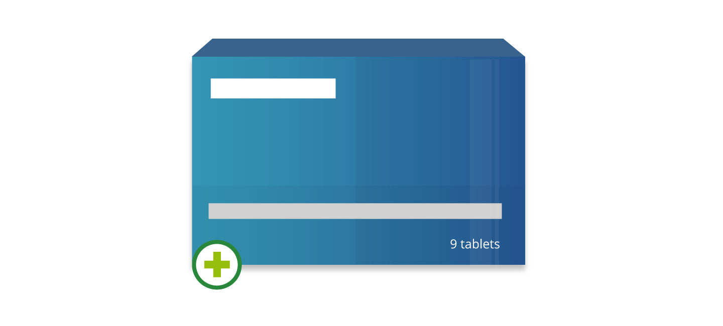 Illustrated blue pharmacy medicine box with green cross icon