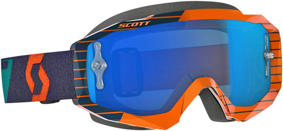 GAFAS MOTOCROSS SCOTT HUSTLE NARANJA/AZUL (GOGGLE ORANGE/BLUE W/BLUE CHROME WORKS)