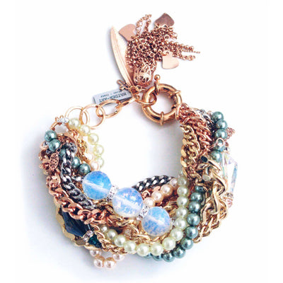 Statement Bracelet With Opal Stones & Charms - SCANDALICIOUS GIRL