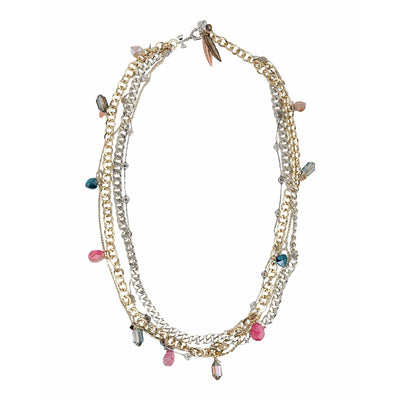 Stylish Necklace With Crystals & Pink Agate Stones - SCANDALICIOUS GIRL