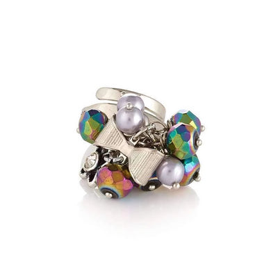 Stylish Adjustable Ring With Iridescent Green Beads - SCANDALICIOUS GIRL