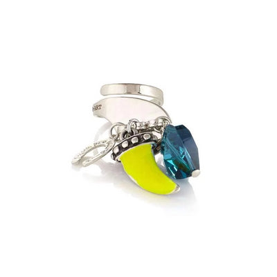 Yellow Horn & Blue Crystal Adjustable Ring - SCANDALICIOUS GIRL