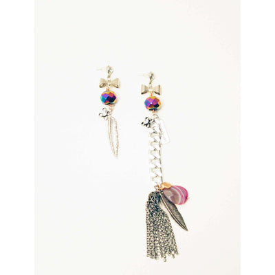 Screw Back Earrings With Long Chain & Charms - SCANDALICIOUS GIRL