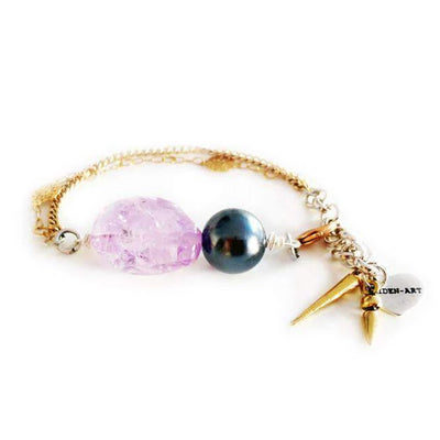 18K Gold Plated Charm Bracelet With Amethyst - SCANDALICIOUS GIRL