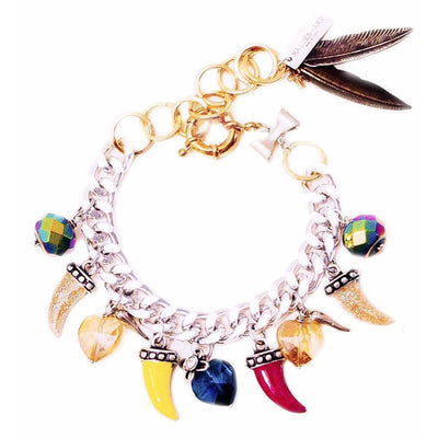 Colorful Horns, Horseshoe, Heart Charm Bracelet with Crystals - SCANDALICIOUS GIRL