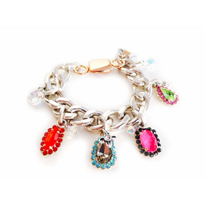 Chain & Link Bracelet With Colorful Crystallized Swarovski Elements - SCANDALICIOUS GIRL