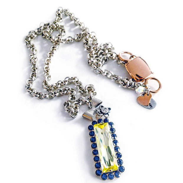 Yellow & Blue Crystal With Silver Necklace - SCANDALICIOUS GIRL