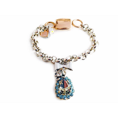 Chain & Link Bracelet With Light Blue Swarovski Crystals - SCANDALICIOUS GIRL