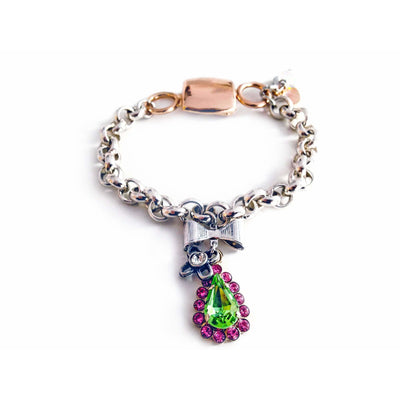 Chain & Link Bracelet With Pink & Green Swarovski Crystals - SCANDALICIOUS GIRL