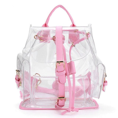 Lovely Crystal Clear See Through Pink Backpack - SCANDALICIOUS GIRL