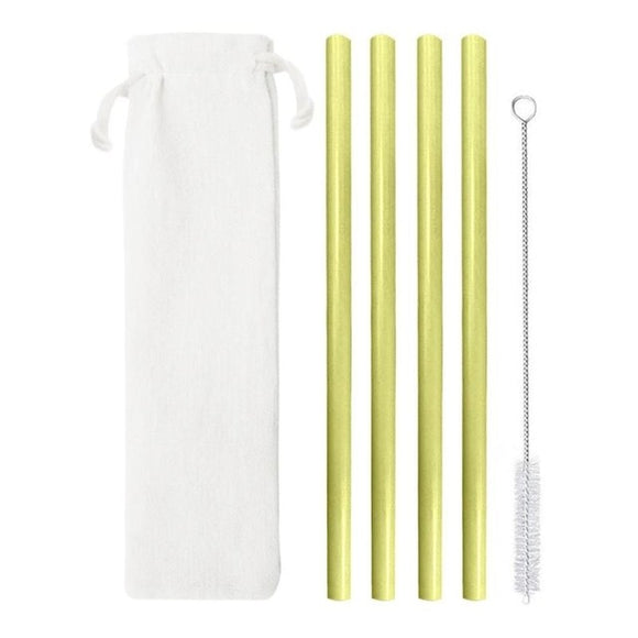4 Eco-Friendly Natural Bamboo Drinking Straws with Cleaning Brush