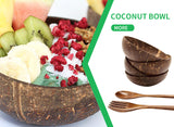 All Natural Organic Coconut Bowl & Wooden Cutlery Sealed With Organic Virgin Coconut Oil