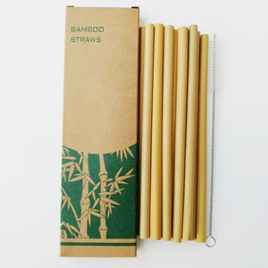 12 Eco-Friendly Bamboo Straws with Cleaning Brush