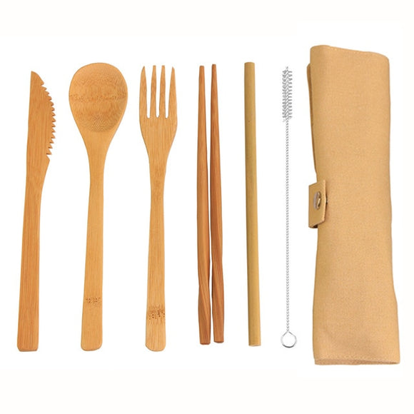 Lightweight Reusable Bamboo Cutlery Set with Travel Pouch