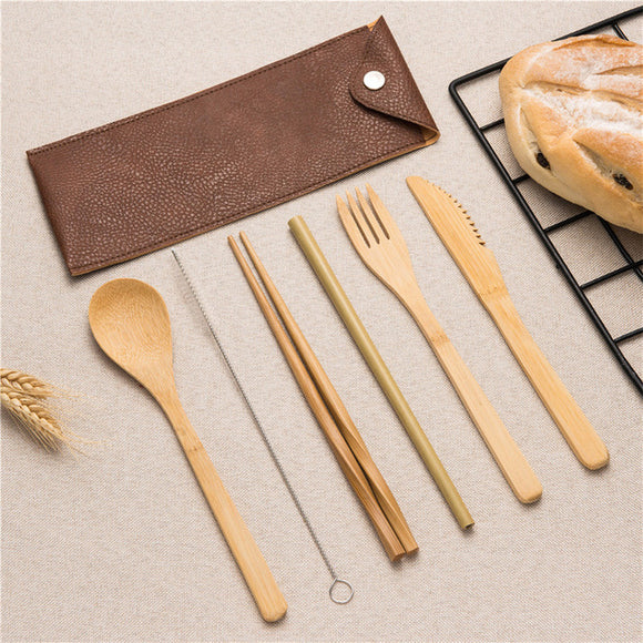 6 Pieces Reusable Bamboo Cutlery Set with Travel Pouch