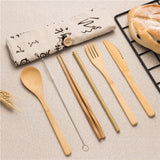 Japanese Styled Reusable Bamboo Cutlery Set with Travel Pouch