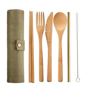 Reusable Bamboo Cutlery Set with Travel Pouch