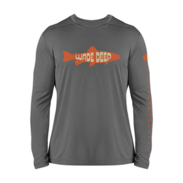 Wade Deep Unisex 2019 Grey Catch And Release Sunshirt - Front