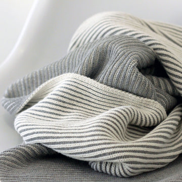 LINE Organic Knit Baby Blanket - Grey-koko's nest-Shop at Nook
