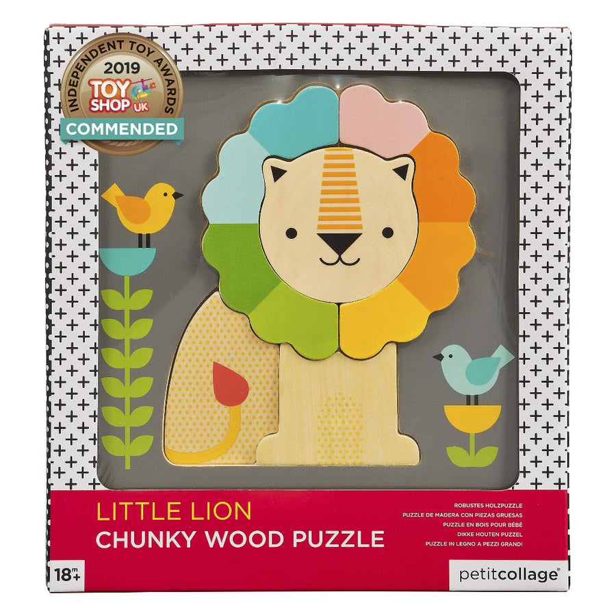 Chunky Lion Wood Tray Puzzle-Petit Collage-Shop at Nook