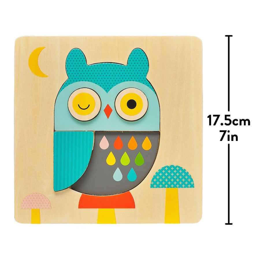 Chunky Owl Wood Tray Puzzle-Petit Collage-Shop at Nook