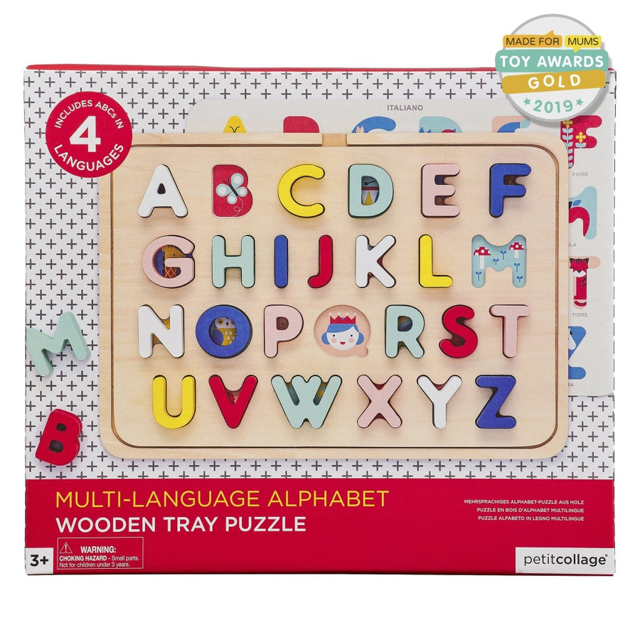 Multi-Language Alphabet Wood Tray Puzzle-Petit Collage-Shop at Nook