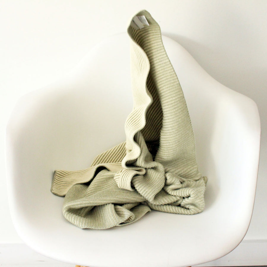 LINE Organic Knit Baby Blanket - Sage-koko's nest-Shop at Nook
