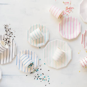 Frenchie Striped Small Plates - Pack of 8-Daydream Society-Shop at Nook