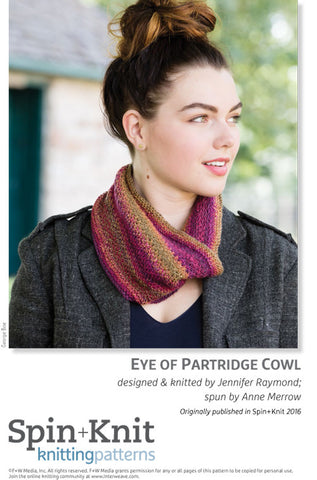 Eye of Partridge Cowl Spinning Knitting Pattern DownloadImage