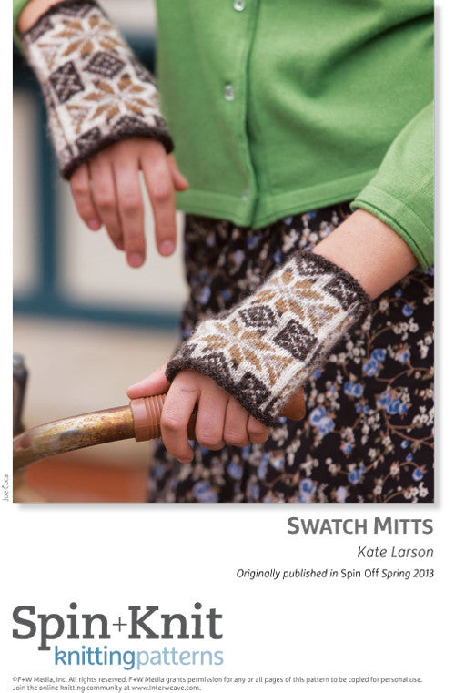 Swatch Mitts Spinning Knitting Pattern DownloadImage